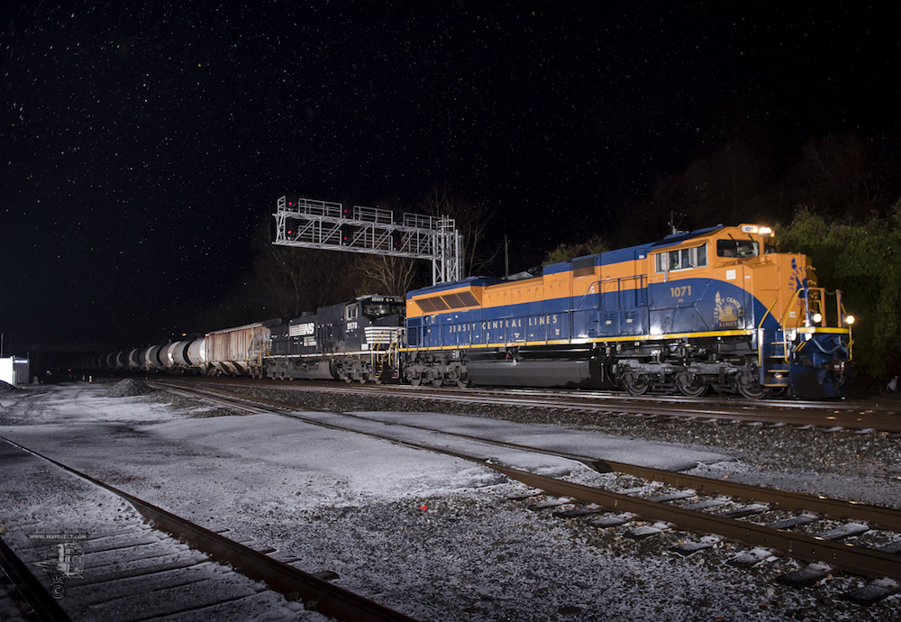 Action Photo:  CNJ 1071 with NS 65V at night.